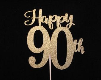 90th Birthday Cake Topper, Gold Glitter 90, 90th Birthday, Happy 90th Cake Topper