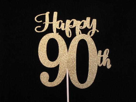 90th Birthday Cake Topper Gold Glitter 90 90th Birthday