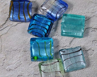 Mixed blue foil glass, 20mm, drilled, #391