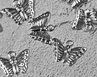 Silver plated butterfly charms, 13x9mm, #404