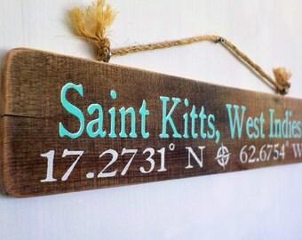 Custom Beach Latitude Longitude Sign -cabin signs, custom beach signs, rustic beach signs, coastal decor, custom beach signs