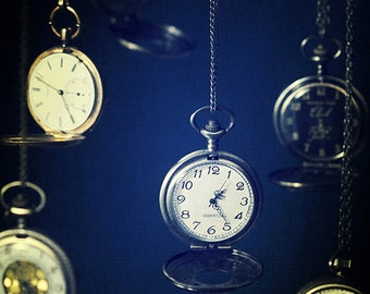 Still life, Pocket watches, time, clocks, Fine Art Photograph, Photography, Blue, Surreal, Alice thru the looking glass, Wonderland, Photo