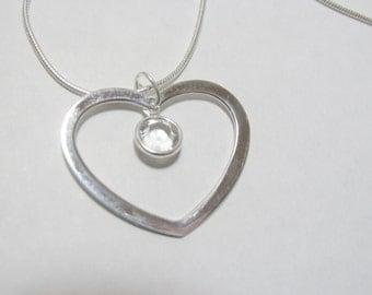 Heart Necklace, Swarovski Crystal Heart Necklace, Mother Necklace, Birthstone, Swarovski, Heart, Sterling Silver, Anniversary, Love, Wedding