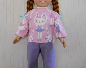 """18"""" Doll Pajamas Flannel with Bunny Ballerina for AG Type Dolls"""