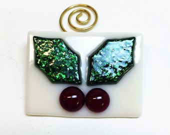 Fused Glass Holly Ornament