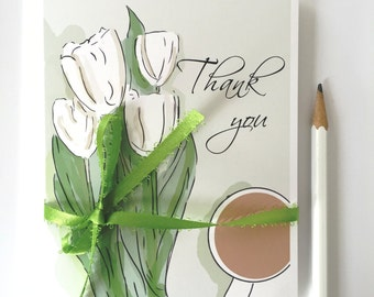 Thank You Cards - Boxed Set (8) - Spring Thank You Notes - Freshly Picked Tulips