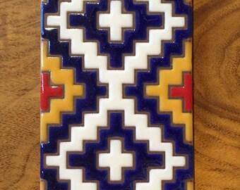 3x6 Geometric Navajo Rug Hand Glazed Decorative Ceramic Tile