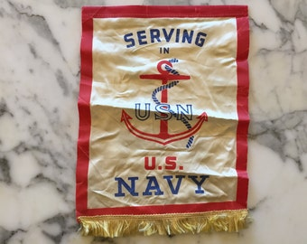 WW2 Banner Flag . Serving in US Navy . Anchor Nautical
