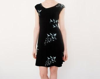Bird Print Black V-neck Bamboo Cotton Sleeveless Dress