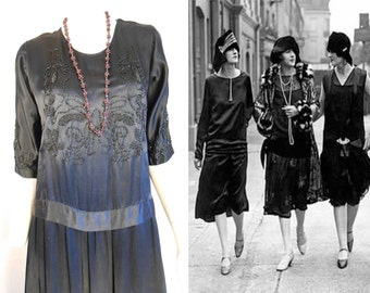Prohibition Blues - Vintage 1920s Black Silk & Jet Seed Beaded Evening or Funeral  Dress - 4/6