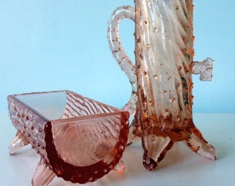 Pink Glass Depression Era Log Maple Syrup Decanter Glass Table Setting Creamer And Sugar Bowl