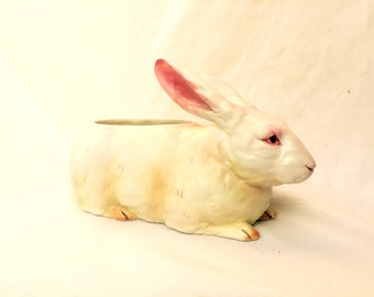 vintage lefton rabbit.large bunny.easter.vase.planter.springtime.PERFECT.sweet.midcentury.japanese.tessiemay vintage