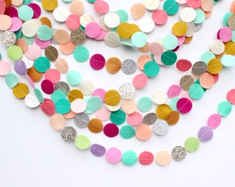 Custom Felt and Glitter Circle garland: create your own/list colors at checkout
