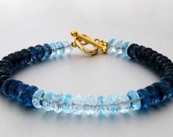 London Blue Topaz and Swiss Blue Topaz Bracelet
