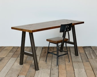 Reclaimed wood desk hand-crafted with steel A-frame legs in choice of sizes or finishes