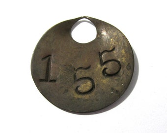 VINTAGE Brass Number Tag Tool TAG Number 155 Scrapbook Altered Art Assemblage Mixed Media Art Jewelry Supplies Brass Tool Tag No 155 (L115)