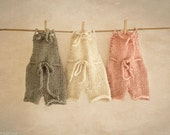Baby Romper, Gray, Off White, Pink Overalls, Off White Romper, Tan, Newborn Props, Baby Props, Baby Pants, Knit Romper, Shorts, RTS