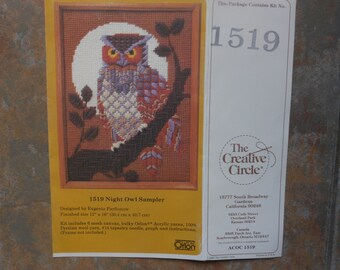 vintage crewel embroidery kit Creative Circle kit  1519  Night Owl Sampler complete kit small portion done.