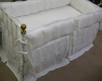 Bright White Washed Linen Tailored Crib Bedding-White Linen Tailored Bumpers-White Linen Tailored Crib Skirt with Center Inverted Box Pleat