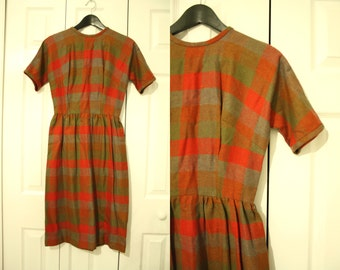 50s Plaid Wool Dress / Fall Holiday Dress