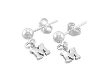 Initial Earrings, Little Girls post, Sterling Silver, personalized, birthday jewelry, small dangles, ball posts young girl present MARIELLA