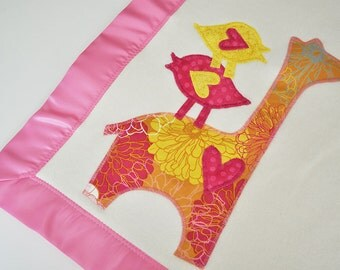 Organic Baby Girl Blanket with Giraffe -- Pink and Gold