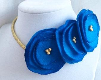 Kansas City Royals Poppy floral crown headbands, blue and gold, kc world series champions kansas city