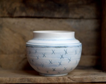 Fun, rustic white and blue ceramic vase.  Home decor, planter.  Wheel thrown porcelain vessel.