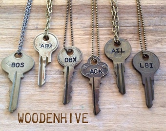 Key Necklace |  Vintage Hand Stamped with Special Place Location | Airport Code