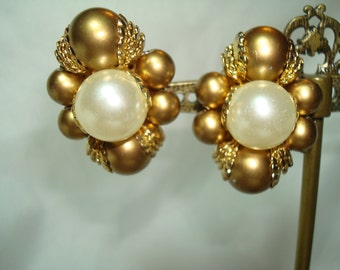 1960s Large Gold and Faux Pearls Beaded Earrings.