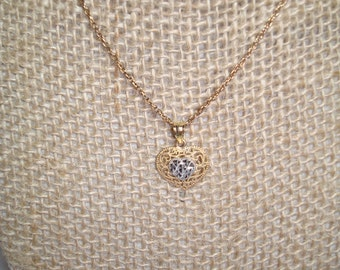 1988 10 Karat Gold Heart Necklace.
