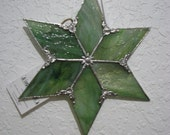 Shades of Green (Translucent) Streaky Glass 6 point star