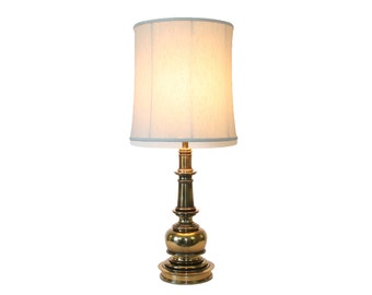 Stiffel Brass Lamp Neoclassical Column with Shade Hollywood Regency