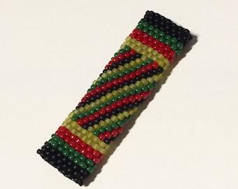 Rasta Dreadlock Bead - For Small Locks - Fancy Rastafarian Stripe and Spiral