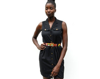 Black denim sleeveless mini collar dress with gold buttons 1990s 90s VINTAGE