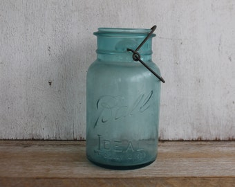 Vintage Turquoise Ideal Ball Jar with Wire Bail