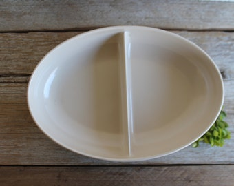 Vintage 1950's Melamine Divided Serving Dish // Watertown Ware // Ecru