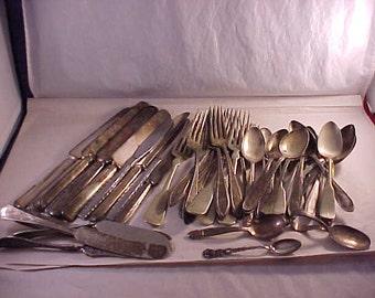 Vintage Silver Plate Flatware Various Patterns 53 Pieces