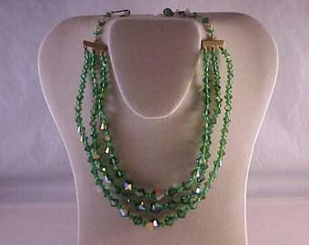 Green Glass Bead Three Strand Necklace