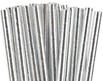 Paper Straws Box of 144 Metallic Silver