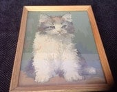 Cute Vintage 1960's Paint by Numbers Kitten Cat Painting Framed