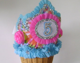 5th Birthday Party hat, 5th Birthday Party Crown, 5th Birthday, Tye Dye Birthday hat, Girl Birthday hat, customize