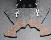 Large Painted Wood Nefertiti and Silver Ankh Earrings
