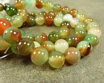 Green/Orange/Brown Blend Dyed Agate 10mm Gemstone Round Beads 20pc Smooth