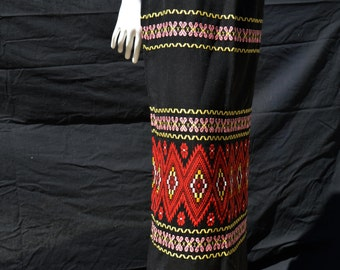 Vintage 50's hippie skirt mexican backstrap weaving long maxi ethnic pencil skirt MINT size 34 28 waist BOHO by thekaliman