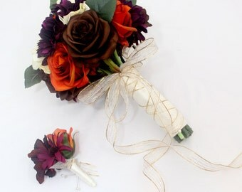 Fall Wedding Bouquet - Orange, Brown Rose, Ivory Hydrangea, Violet Gerbera Brides Wedding Bouquet, Bridal Bouquet for Fall Wedding