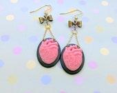 Black and Pink Anatomical Heart Mini Cameo Earrings