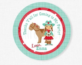 Cowgirl Favor Tags, Western Party Favor Tags, Red Cowgirl Gift Tag, Cowgirl Party Favors, Western Birthday Tag Personalized