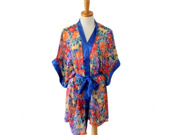 Vintage 80s Sheer Tropical Flower Robe - Women One Size fits Many