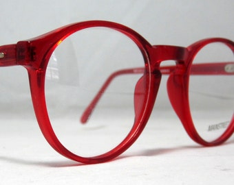 Vintage 80s Large Round Horn Rim Eyeglass Frames. Cherry Red